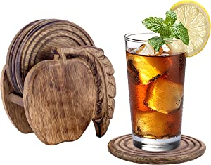 Divit Wooden Coasters for Drinks, Eco-Friendly, Absorbent, Antique Look Handcrafted Coasters, Set of 6 (Apple)
