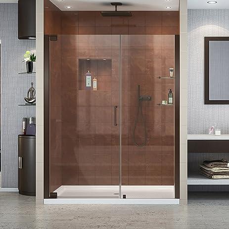 DreamLine Elegance 30 in. D x 60 in. W Frameless Shower Door in Oil ...