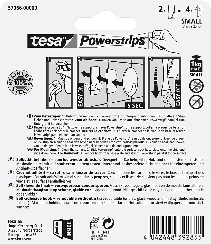 tesa Powerstrips Hooks S metal rectangular