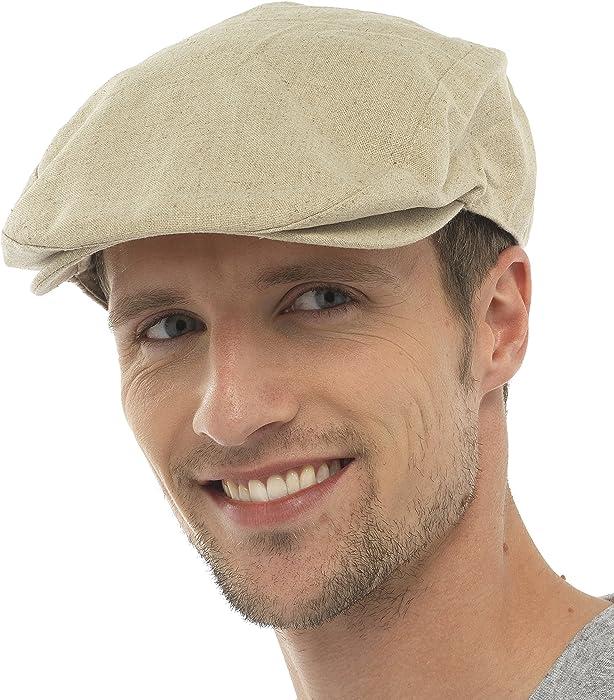 Mens Cotton Linen Fabric Flat Cap Hat Lined Summer Sun Peak Navy Stone M//L L//XL