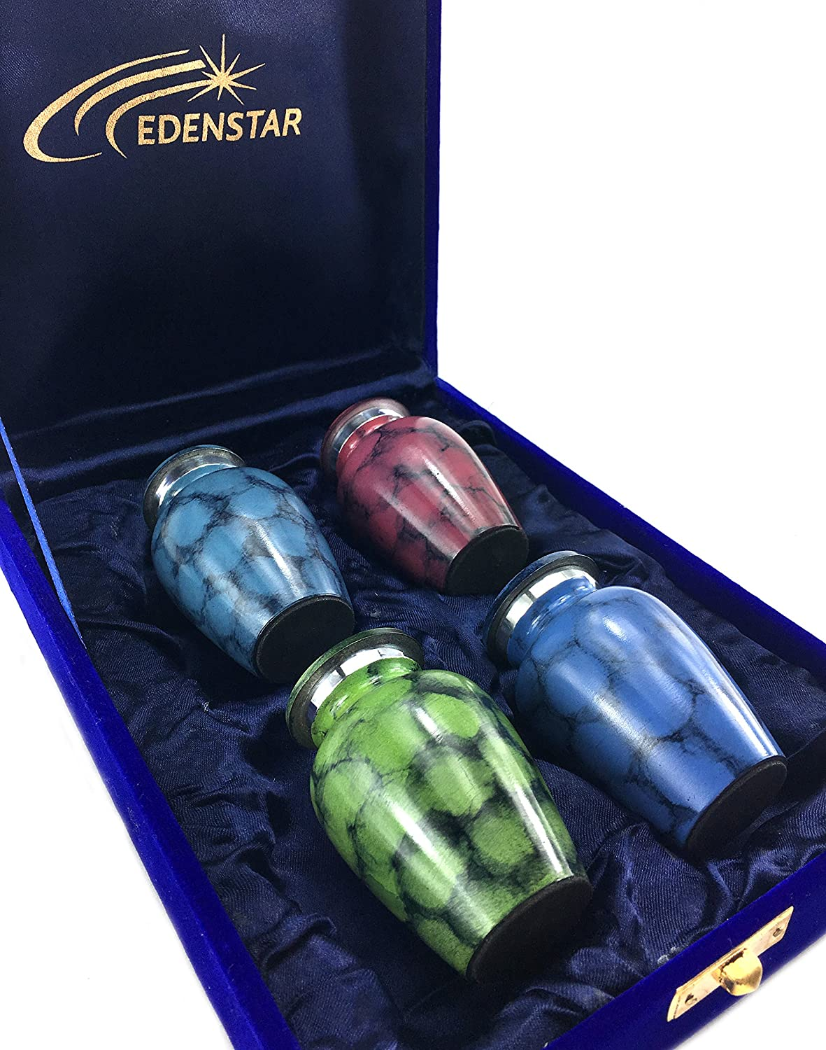 EDENSTAR NEXTG Premium Quality Memorial Mini Keepsake Urns Handcrafted to Perfection Engraved with Unique Design Small Keepsakes Cremation Urn for Ashes Handmade Funeral Urns Set of Four