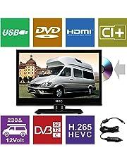 HKC 16M4C: Téléviseur LED de 39,6 cm (16 Pouces) avec Lecteur DVD (HD-Ready 1.366 x 768, Triple Tuner, CI +, HDMI, Lecteur multimédia Via USB 2.0, Chargeur de Voiture 12 V), Noir