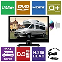 HKC 16M4C 16 inch ( 39.6 cm) LED with DVD TV ( Triple Tuner, DVD-Player, DVB-T2/S2/T/S/C, CI+, H.265/HEVC. 230V/12V, 12Volt Vehicle charger/cable included) Black, Energy Class A+