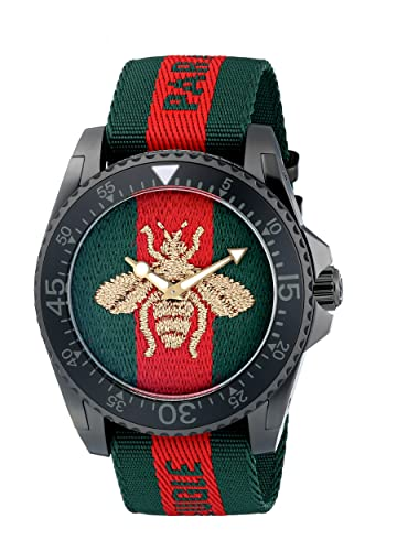 Amazon.com: Gucci Quartz Stainless Steel and Nylon Casual Two-Tone Mens Watch(Model: YA136216): Watches