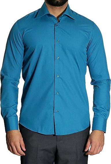 mmuga Extra Manga Larga Camisa de Hombre, Slim-Fit/Entallado, Color Azul, Tallas S – 5 x l: Amazon.es: Ropa y accesorios