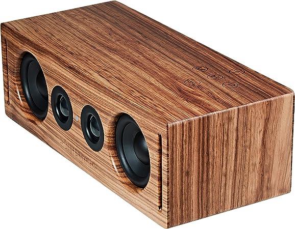 RÖTH & MYERS BOSK Speaker HiFi - Altavoz Wifi / Bluetooth. Altavoz de estantería. Diseño Único en Madera de Zebrano 100% Natural, Multiroom y ...