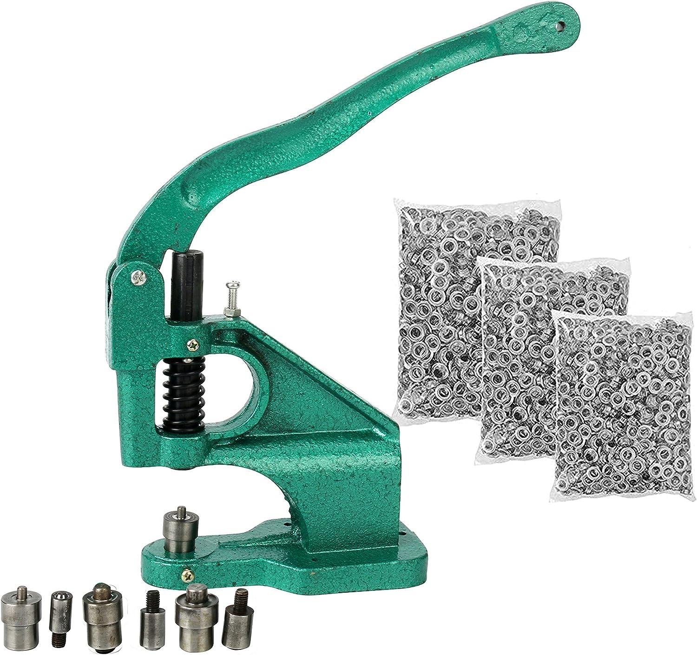 FreeTec Máquina de Ojal con 3 matrices y Juegos de 1500 Ojales, Ojal máquina de la prensa