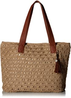 New The Sak Women/'s Fairmont Crochet Tote Shoulder Bag in Gold Beige