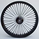 """Black and Chrome Ultima King Spoke 21"""" x 2.15"""" Front Wheel for 2000-2006 Harley and Custom"""