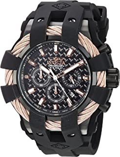 Invicta Mens Bolt Quartz Stainless Steel and Silicone Casual Watch, Color:Black