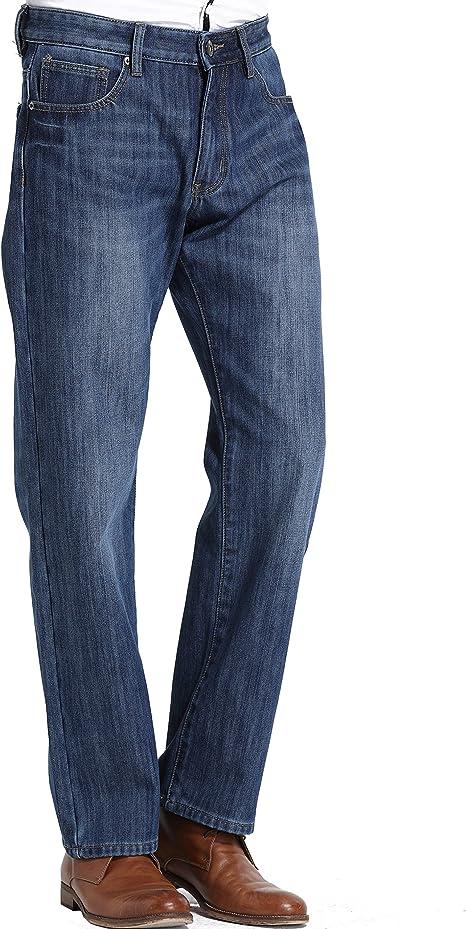 SSLR Pantalones Vaqueros con Forrado Polar Térmico de Invierno Corte Recto para Hombre