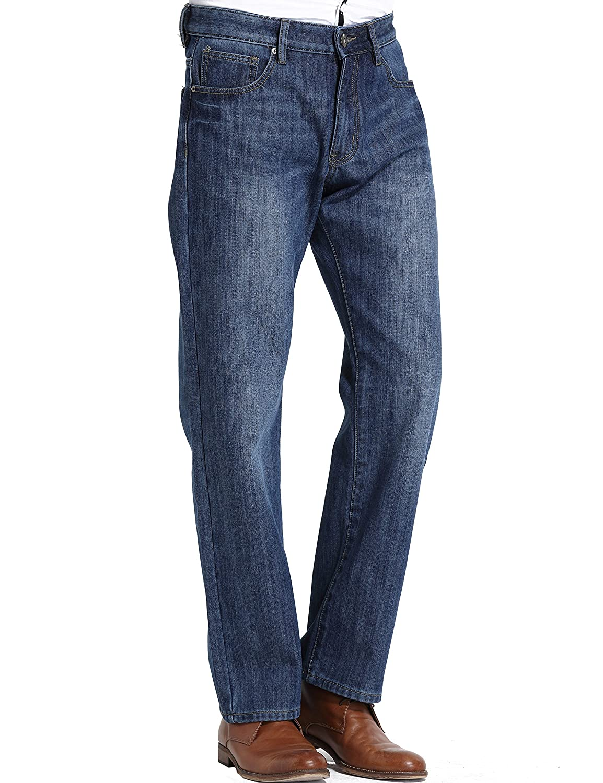 TALLA W38. SSLR Jeans Recto para Invierno Forrado de Franela para Hombre