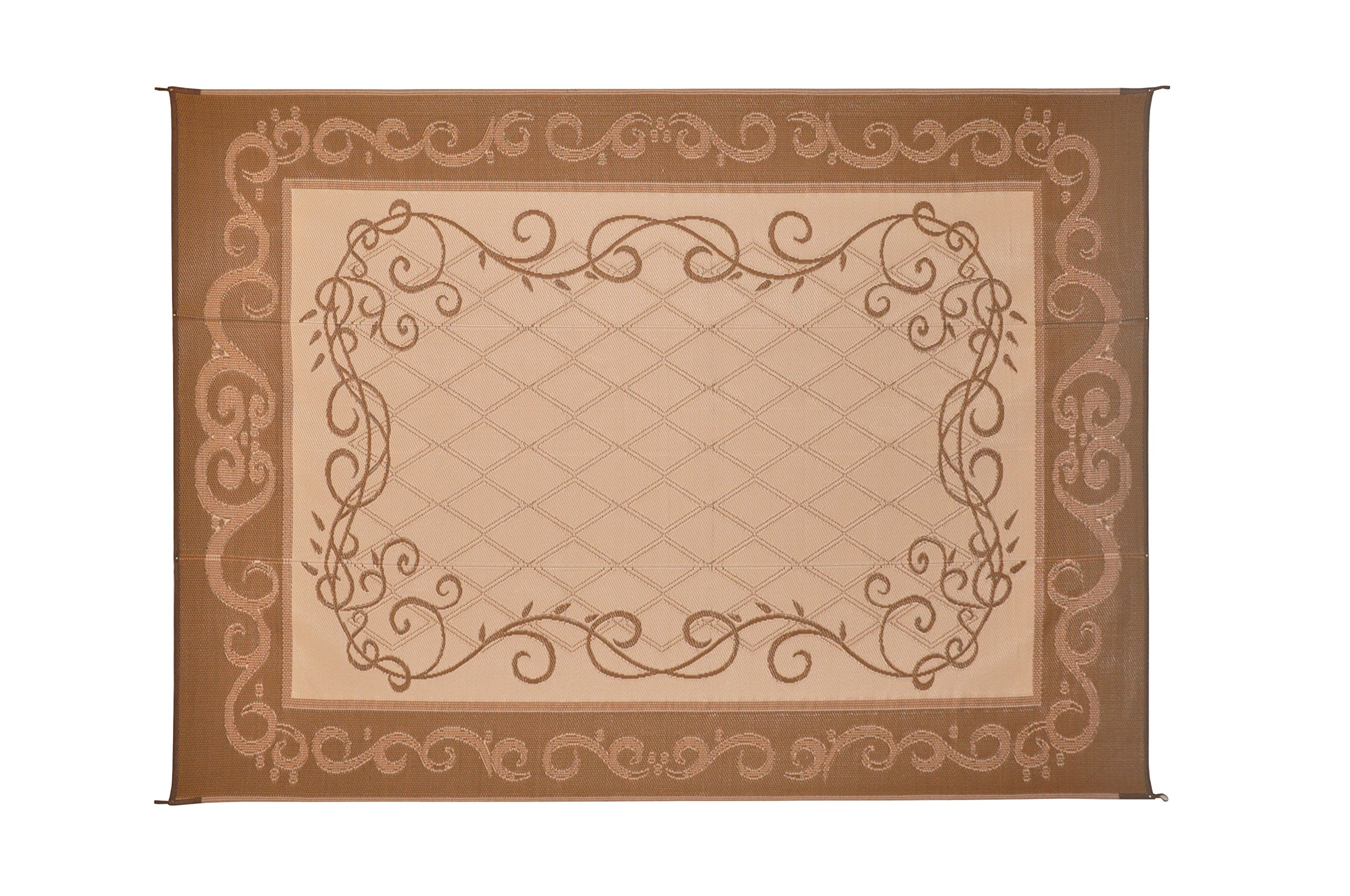 Reversible Mats 6-Feet x 9-Feet Brown & Beige Patio Garden Mat with Vine Design