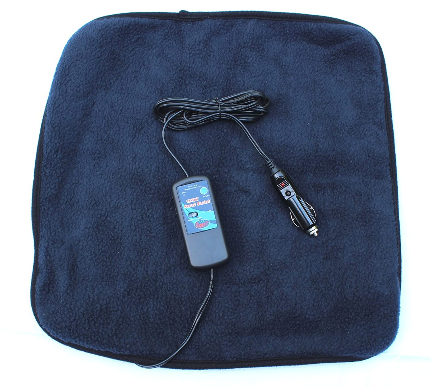 with Patented Safety Timer by Trillium Worldwide TWI-1201 Car Cozy 2 Mini 12-volt Heated Travel Pad Navy, 16x 16 with Patented Safety Timer by Trillium Worldwide 16x 16