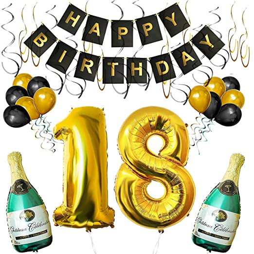 BELLE VOUS Set Decoraciones Fiesta de Cumpleaños Globos 18 y Pancarta Happy Birthday Botellas de Champán Inflables, 18 de 101,6cm y Globos - Kit ...
