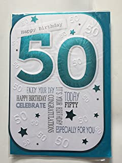 Mens Male 50th Age 50 Happy Birthday Today Card White Turquoise Foil Detail