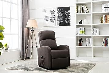 divano roma furniture classic plush power lift recliner living room chair dark grey