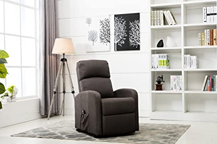 Exceptional Divano Roma Furniture   Classic Plush Power Lift Recliner Living Room Chair  (Dark Grey)