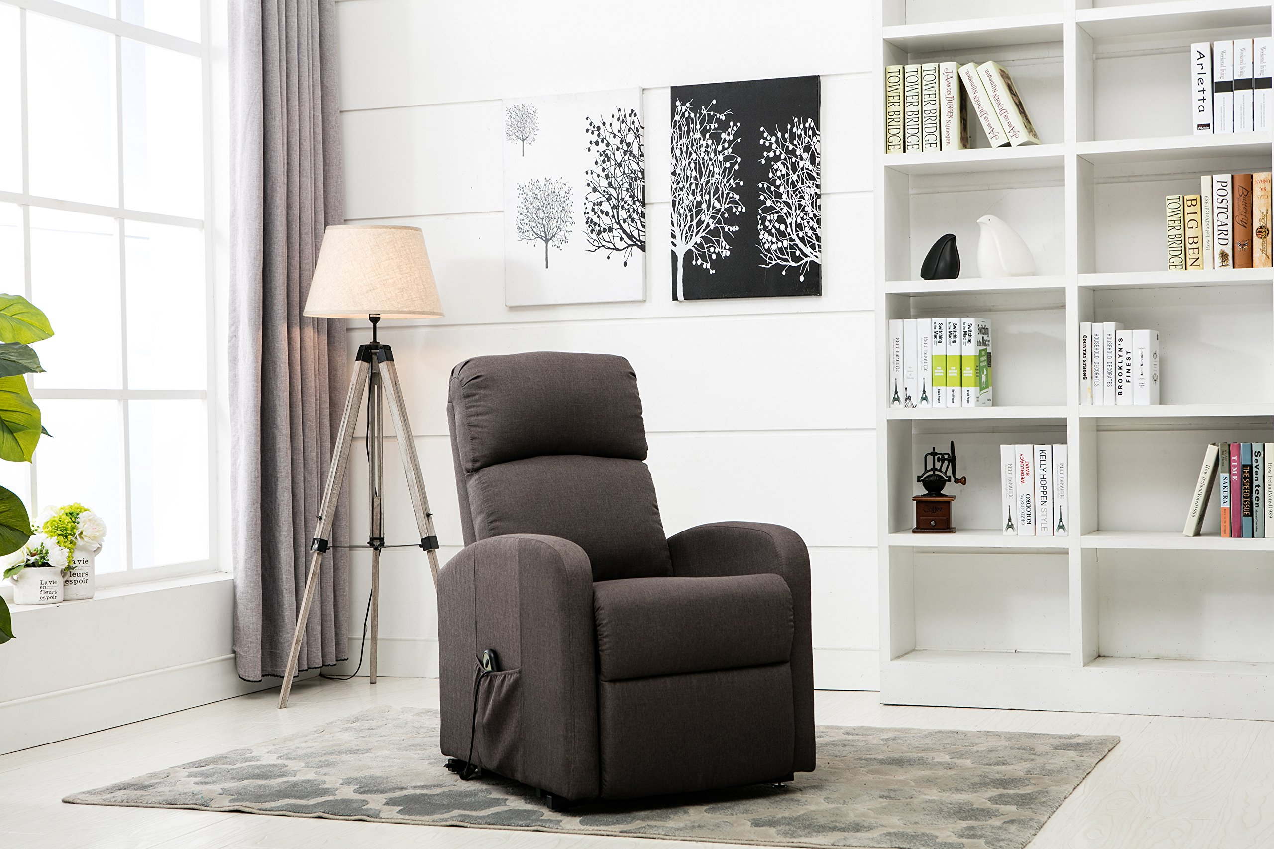 Divano Roma Furniture - Classic Plush Power Lift Recliner Living Room Chair (Dark Grey)
