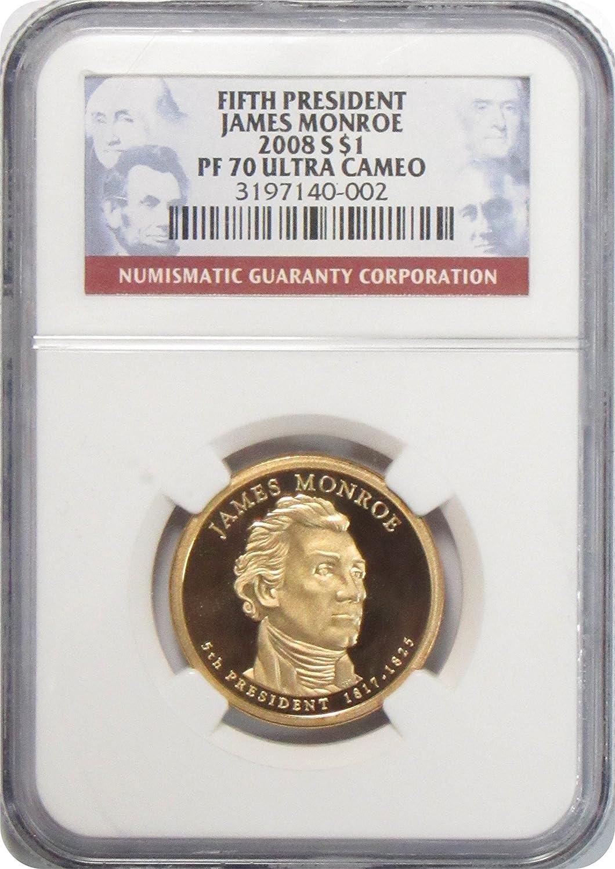 2008-S JAMES MONROE PRESIDENTIAL DOLLAR $1 NGC PF70 ULTRA CAMEO