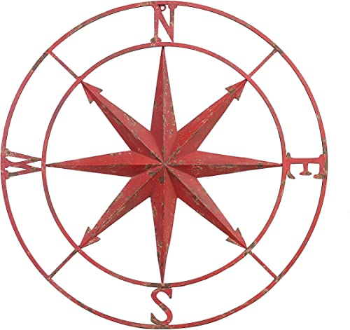 Creative Co-op Decorative Round Metal Compass Wall D cor, 41 , Red