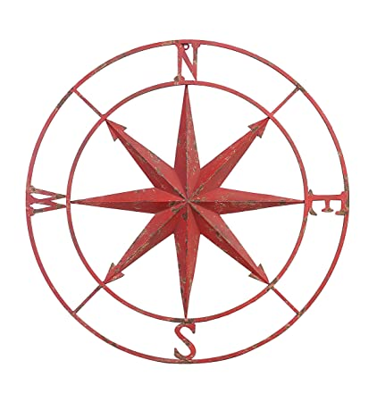 Creative Co Op Red Round Metal Compass Wall Decor