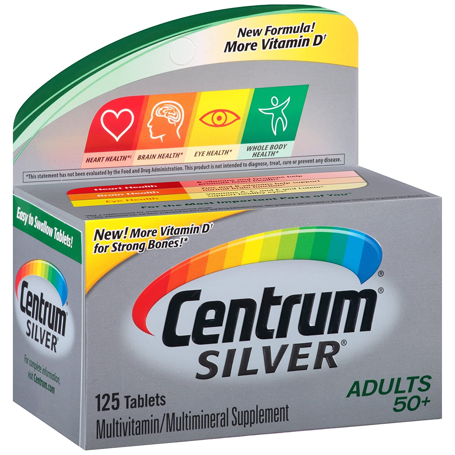 Centrum Silver Adult (125 Count) Multivitamin/Multimineral Supplement Tablet, Vitamin D3, Age 50+ by Centrum