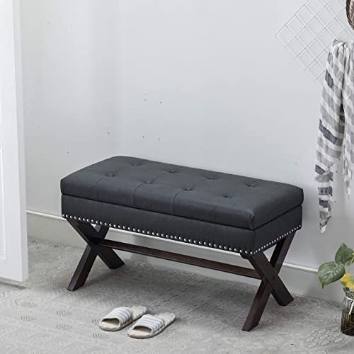 Guyou Fabric Storage Benches Distressed Pattern PU Leather Bedroom Bench X Shape Legs with Nailhead Decor Charcol