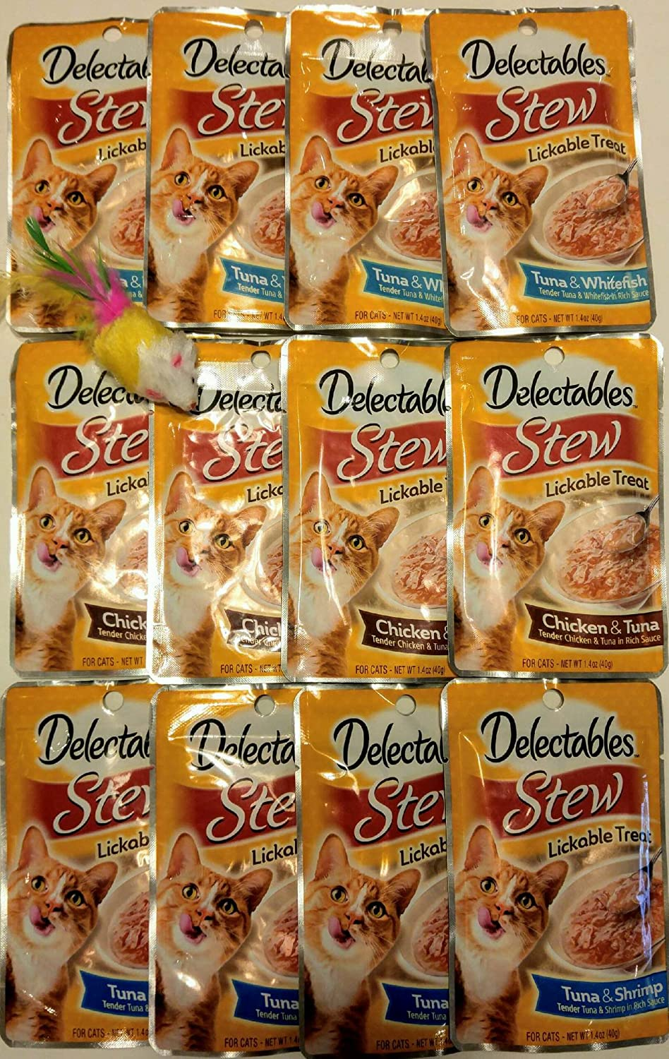 Delectables Stew Lickable Treats Variety Bundle Pack of 12. (4) Tuna & Whitefish, (4) Chicken & Tuna, (4) Tuna & Shrimp. 1.4 oz Each - Bonus Mouse Toy Included (Color May Vary)