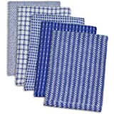 "DII 100% Cotton, Ultra Absorbent, Everyday Kitchen Basic, Fun and Cute Color Dish Cloth 12 x 12"", Combo Gift Set of 5- Blue"