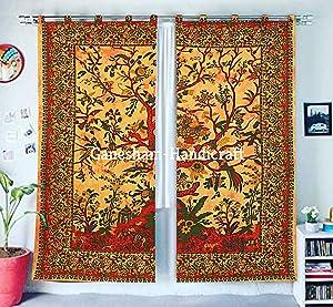 Indian Mandala Curtain Balcony Sheer Room Divider Living Room Bohemian Decor Light-Filtering Blackout Gypsy Door Curtain (Yellow)
