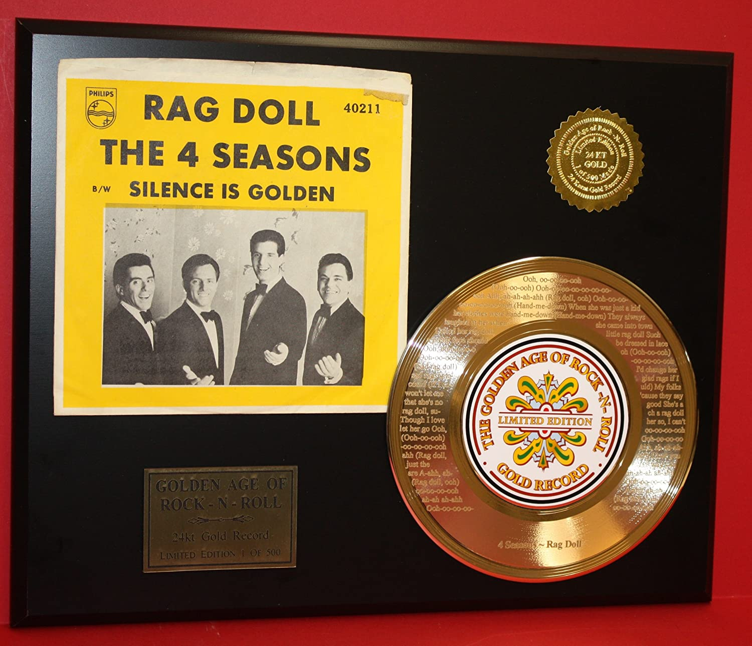 4 Seasons'Rag Doll' 24Kt 45 Gold Record LTD Edition Display Gold Record Outlet