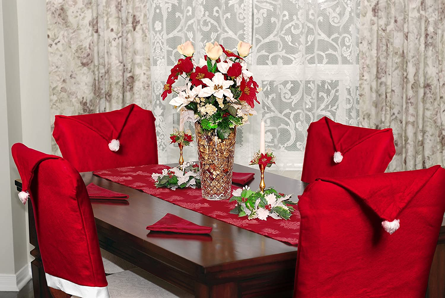 Imperial Home Christmas Decorations Dining Room Chair Covers (Santa's Hat, Set of 4)