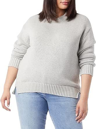 Marca Amazon - Daily Ritual - Jersey de punto grueso hecho de algodón 100 % con manga larga y cuello redondo para mujer