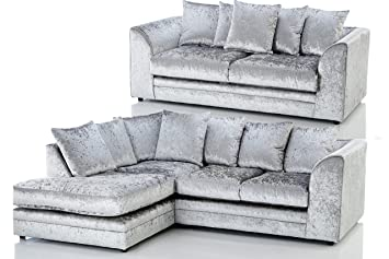 High Quality Candice Crushed Velvet 3 Seater Fabric Corner Sofa