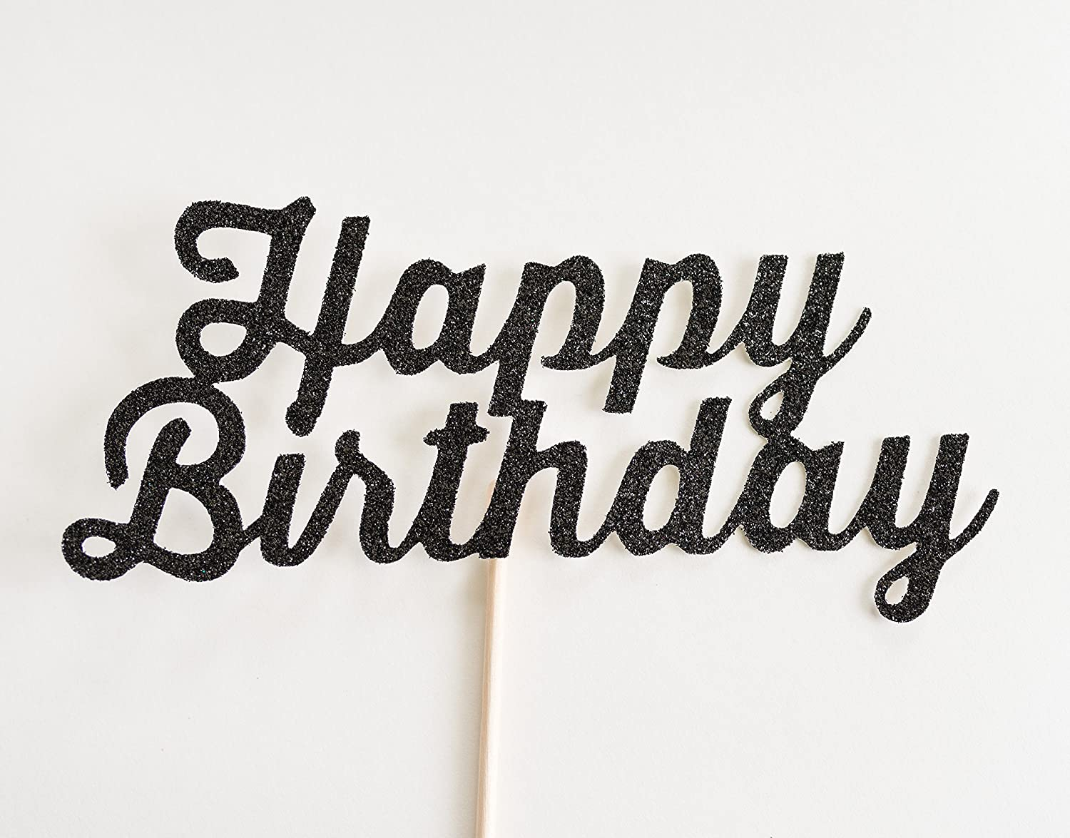 Black Glitter 'Happy Birthday' Cake Topper, Script
