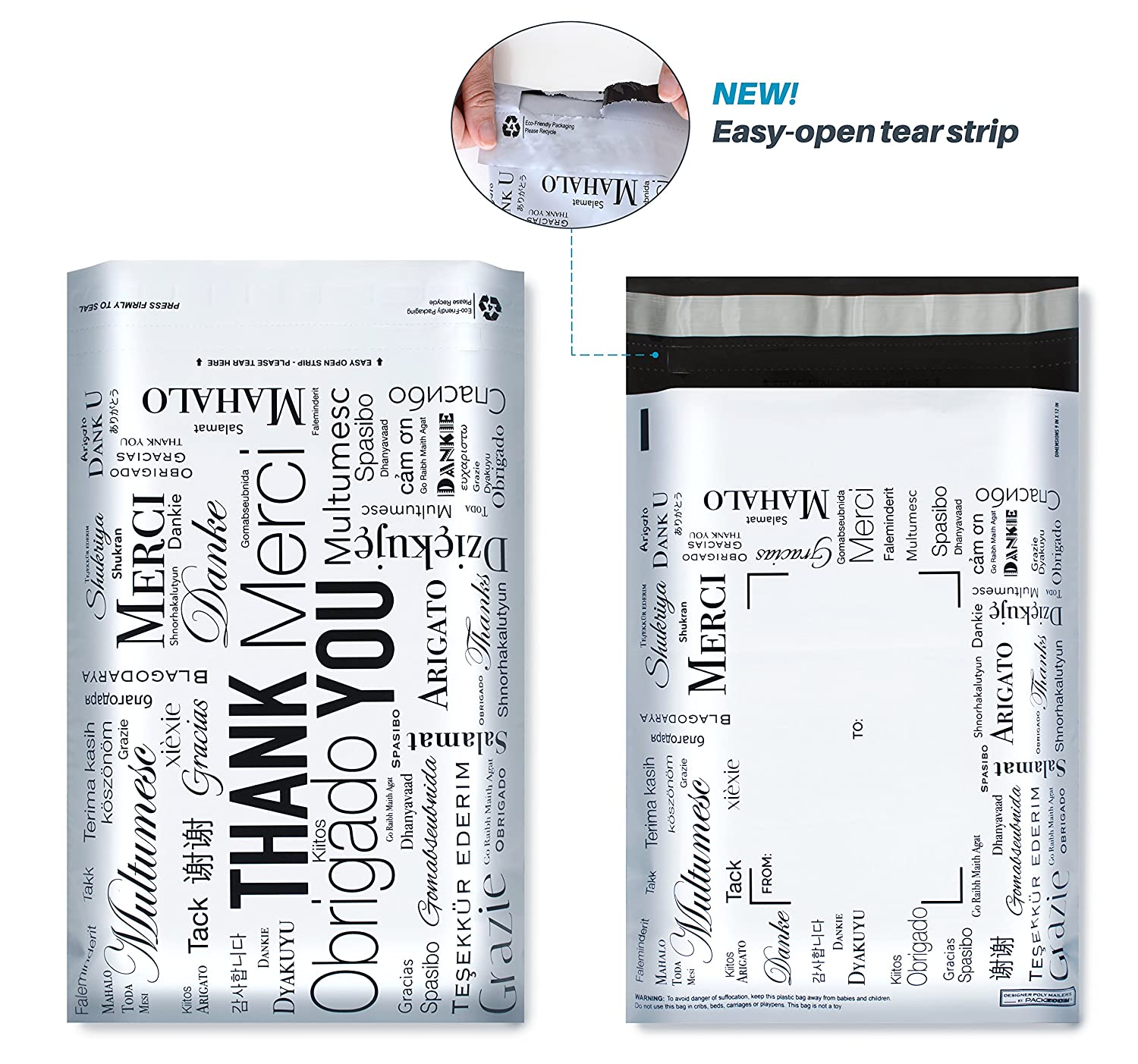 9x12 Designer Poly Mailers with Global THANK YOU Design, Easy Tear Strip, Self Adhesive, Strong Glue, Anti-static Release Liner - 2.4 Mil, 100 Bags