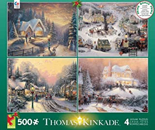 product image for Ceaco Thomas Kinkade 4-in-1 Multi-Pack Holiday Jigsaw Puzzle (500 Pieces)