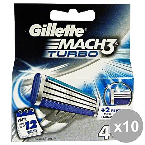 GILLETTE Set 10 Mach 3 Turbo Actualizar Sólo X4 Repuesto Productos De Afeitado