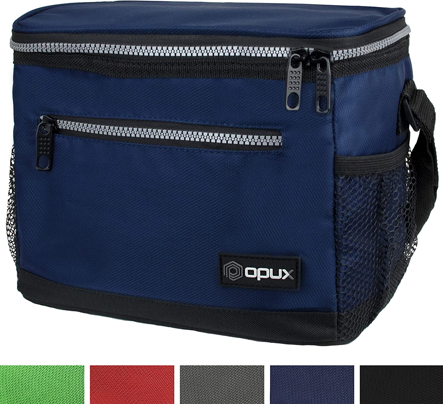 OPUX Premium Lunch Box, Insulated Lunch Bag for Men Women Adult | Durable School Lunch Pail for Boys, Girls, Kids | Soft Leakproof Medium Lunch Cooler Tote for Work Office | Fits 8 Cans (Navy)