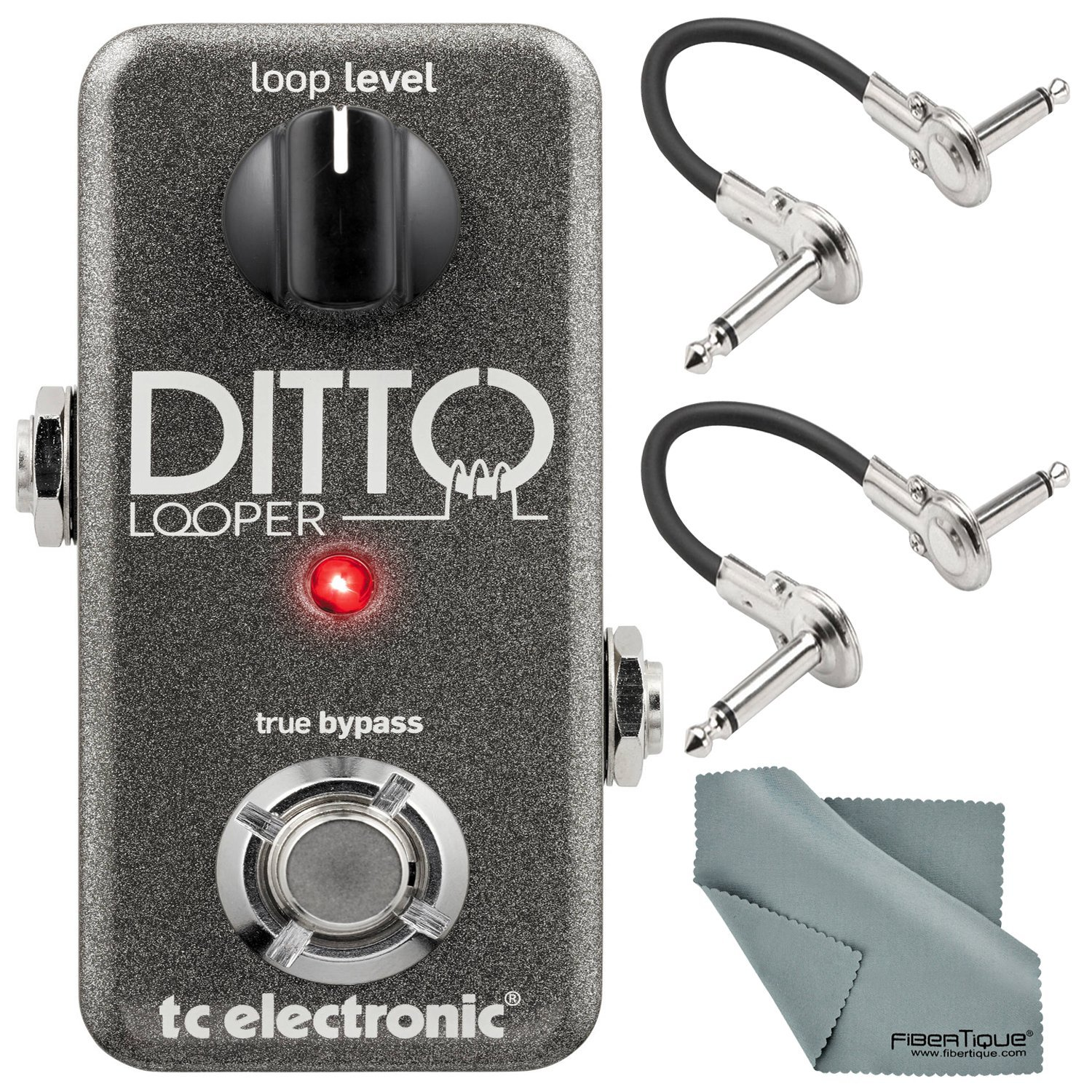 TC Electronic Ditto Looper Effects Pedal and Accessory Bundle with Cables + Fibertique Cleaning Cloth