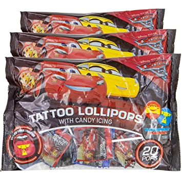 70d3ec82e57070 Amazon.com   Disney Cars Tongue Tattoo Lollipops With Candy Icing ...