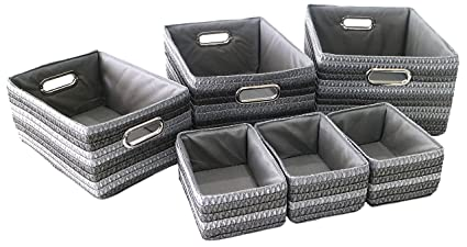 Clay Roberts Storage Baskets 6 Set Silver And Grey Storage