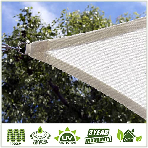 ColourTree Customized Size Order to Make Sun Shade Sail Canopy Mesh Fabric UV Block Triangle TAPT12 White – Commercial Standard Heavy Duty – 190 GSM – 3 Years Warranty Custom Size