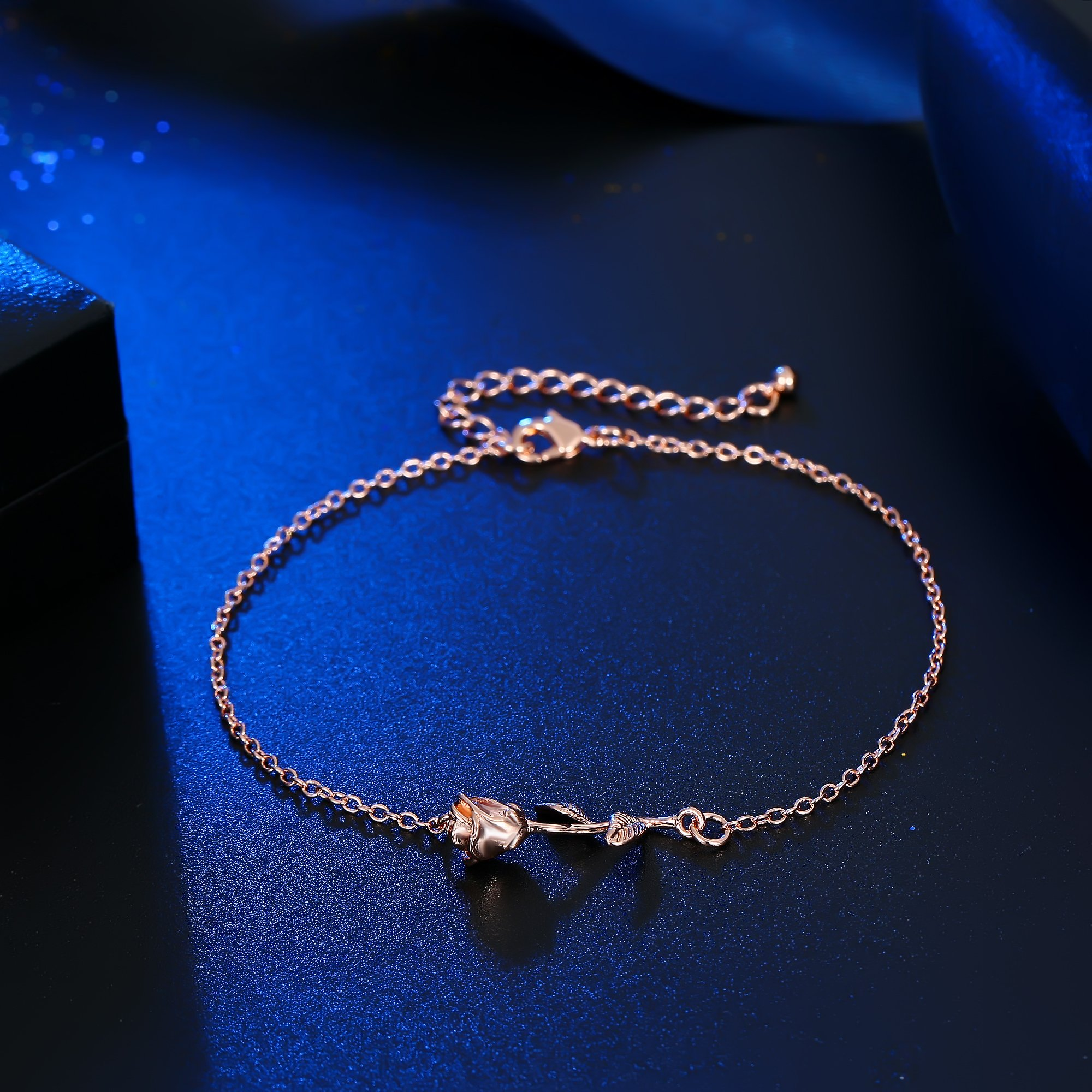 3UMeter Rose Women Girls Anklets Jewelry Exquisite Rose Gold Electroplate Brass Anklets Female, Great Foot Decoration Gift Valentine Mother's Day Birthday by 3UMeter (Image #6)