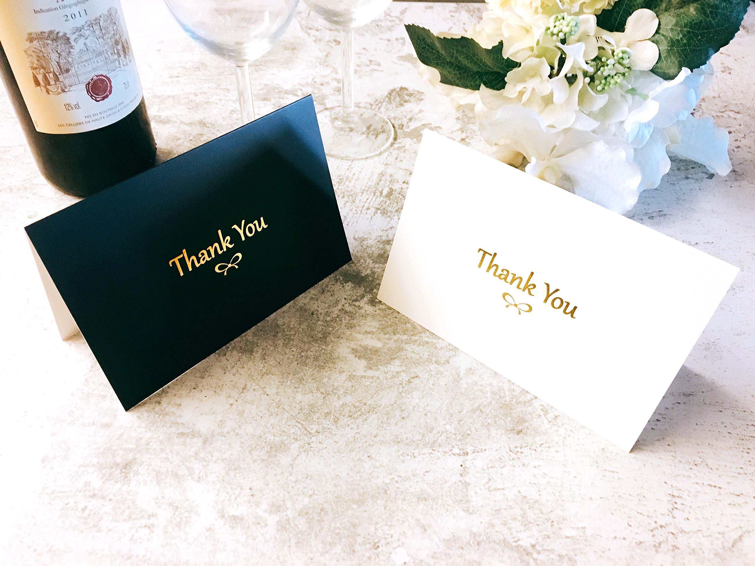 100 Thank You Cards With Gold Foil Embossed Designs | 4 x 6 Inches, Bulk Blank Note Cards With Envelopes And Gold Stickers | Perfect For Wedding, Bridal Shower, Baby Shower, and Business (Black White) by Winoo Paper Greetings (Image #1)