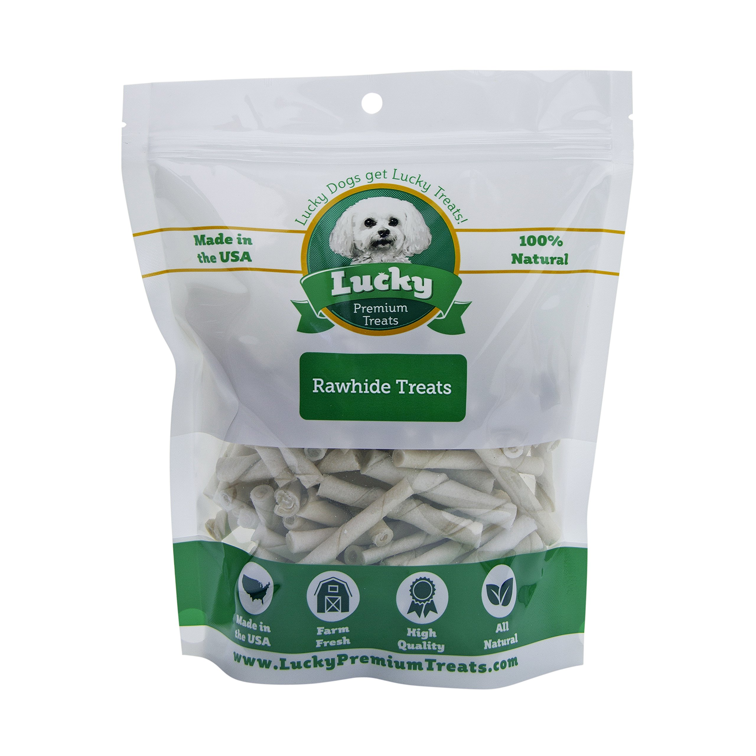 Plain Rawhide Dog Treats for Toy Size Dogs Made in the USA Only by Lucky Premium Treats, 290 Chews