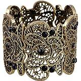 "D EXCEED Vintage Metal Lace Pattern Etched Filigree Crystal Stretch Bangle Bracelet for Women 7"""