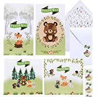 36 Woodland Thank You Cards Baby Shower - Cute Forest Animals Thank You Notes with Envelopes and Stickers | Mountain Creature Notecard Set Perfect for Kids Birthday or Baby Showers