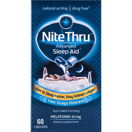 Amazon.com: NiteThru Advanced Sleep Aid, 60 Ct, Non-habit forming, Melatonin Dietary Supplement: Health & Personal Care